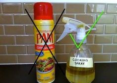 Easy Homemade Cooking Spray -  1 part olive oil + 4-5 parts water in a spray bottle!   It's Cheaper, you know whats in it, and you can make the label as fancy as you want   ╔═════════════ ೋღ ღೋ ══════════════╗ LIKE SHARE COMMENT ...FOLLOW ME FRIEND ME ╚═════════════ ೋღ ღೋ ══════════════╝ ┊ ┊ ┊ ☆LOSE weight here: www.skinnyfiberdiscount.com ┊ ┊ ★ FOLLOW me ---> www.facebook.com/browninkus ┊ ☆ FIRE your BOSS ---> http://globalweeklypay.com #wah #jackiebrownsbc # #weightloss #DIY #skinnyfiber