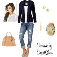 this would be good for dinner with the hubs. Classic pieces and casual but still a little dressy with the blazer.