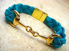 Thick Braided Turquoise Blue Suede Leather Bracelet with Gold Equestrian Snaffle Bit and Gold Plated Magnetic Clasp  by BeachSideLeathers, $21.99