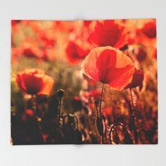 Fiery poppy field - Red Poppies Flowers Throw Blanket