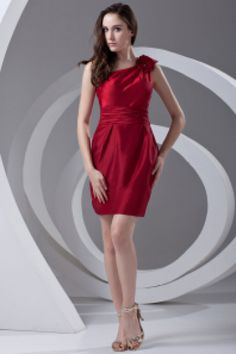 Sheath Burgundy Satin Floral One Shoulder Short Fashion Cocktail Dress 1 220x330 Stand out at the party in a cocktail dress