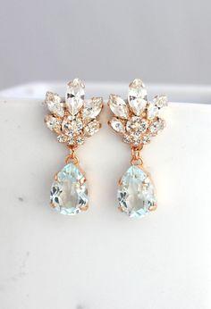 5247e66d1 Bridal Chandeliers, Aquamarine Chandelier, Blue Sky Earrings, Bridal  Earrings, Rose Gold Bridal