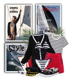 """Tooshie Striped String Bikini Top"" by tasha1973 ❤ liked on Polyvore featuring Mark & Graham, Voodoo Vixen, Tooshie, Vans and Dorfman Pacific"