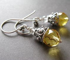 Miya Citrine sterling silver dangles by misluo on Etsy
