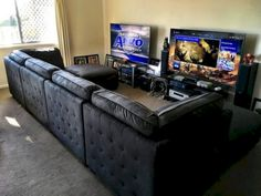 His & Hers Gaming Setup - - Ideas of - This is kinda how I imagine the game lounge. His & Hers Gaming Setup Album o. Game Room Chairs, Game Room Furniture, Game Room Decor, Cool Furniture, Furniture Ideas, Pallet Furniture, Best Gaming Setup, Gaming Room Setup, Gaming Rooms