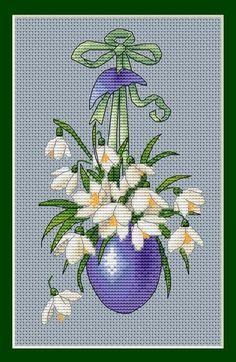 Easter Egg with Snowdrops Cross Stitch Kitchen, Cross Stitch Baby, Modern Cross Stitch, Counted Cross Stitch Patterns, Cross Stitch Designs, Cross Stitch Embroidery, Christmas Embroidery Patterns, Easter Cross, Cross Stitch Pictures
