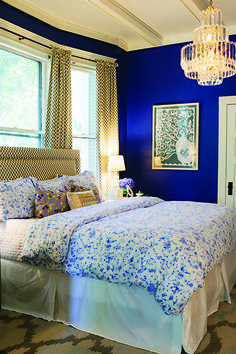 Pattern Mixing And Serious Color For The Master Drapery Headboard Were Created By Royal Blue BedroomsRoyal