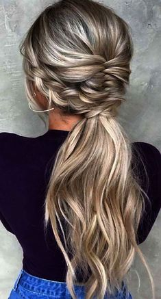 favorite wedding hairstyles long hair ponytail with french braids #weddinghairstyles