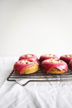Earl Grey Doughnuts with Pomegranate Glaze