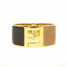 FENDI 266285 Fendi FF Logo Stingray Textured Leather Gold Cuff Bracelet 38% off at www.queenbeeofbeverlyhills.com