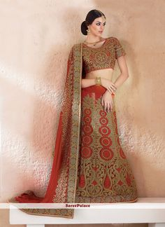 Fashionable Red Patch Border Work Lehenga Saree