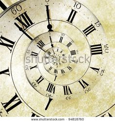 stock photo : An old vintage clock face with a spiral effect representing the infinite spiral of time.