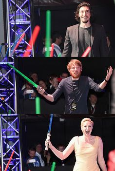 Adam Driver, Domhnall Gleeson and Gwendoline Christie or the First Order at the SDCC