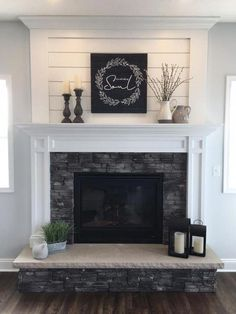 fireplace decor with tv \ fireplace decor . fireplace decor with tv . fireplace decor non working . fireplace decor with tv living room Farmhouse Fireplace Mantels, Home Fireplace, Fireplace Remodel, Living Room With Fireplace, Fireplace Surrounds, Fireplace Design, Farmhouse Decor, Modern Farmhouse, Rustic Fireplace Decor