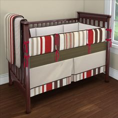 Red And Brown Striped Fabric For The Crib Bedding