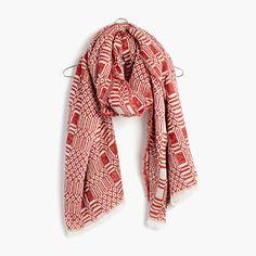 "Supercozy and textural, this bold jacquard scarf was inspired by a vintage textile uncovered by one of our designers. <ul><li>Wool/acrylic/nylon.</li><li>78 3/4""L x 35 1/2""W.</li><li>Hand wash.</li><li>Import.</li></ul>"