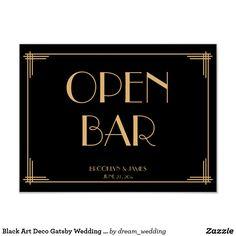 Black Art Deco Gatsby Wedding Open Bar Sign 24x18