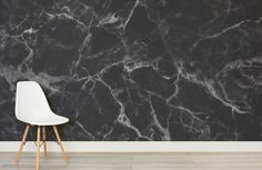 8 Examples Of Modern Marble Wallpaper // Make a dramatic statement with a bold black marble wall with white veins running throughout it. Interior Design History, Interior Design Programs, Contemporary Interior Design, Marble Effect Wallpaper, Marble Wallpapers, Wallpaper Samples, Wallpaper Murals, Wall Murals, Luxury Wallpaper
