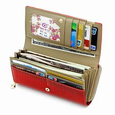 Patchwork Checkbook Wallets Large Capacity Women's Leather Clutch Coin Purse