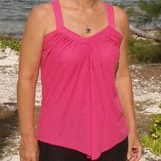 Sew a tank top you will love when you make the Comfy Drape Top from Deby over at So Sew Easy!