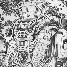 The Watcher & his Kirbytech Space Armour  #jackkirby #kirby #kirbytech #scifi #kirbycrackle #design #graphics #pencils #pinup