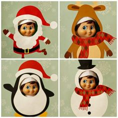 Up your elf's photo booth game. Download free printables for Santa, a reindeer, penguin, and snowman here.