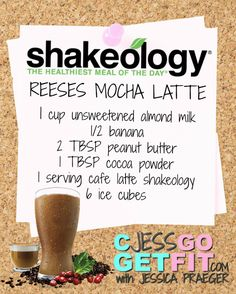 SHAKEOLOGY RECIPE reeses mocha latte - I made this today but added a whole banana, very yummy! Protein Shakes, Shakeology Shakes, Beachbody Shakeology, Protein Shake Recipes, Healthy Shakes, Healthy Drinks, Smoothie Recipes, Healthy Recipes, Protein Smoothies