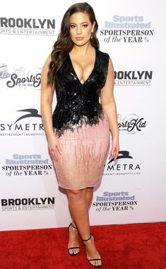 Ashley Graham in a beaded black-and-pink dress