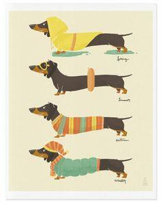 Fine Art Dachshund Print Seasonal Weenies Illustration by mankaco Dachshund Funny, Arte Dachshund, Dachshund Puppies, Weenie Dogs, Dachshund Love, Daschund, Dapple Dachshund, Vintage Dachshund, Funny Puppies