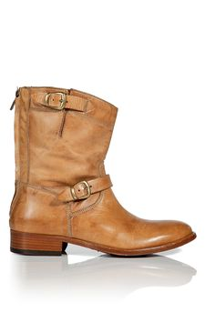 Gorgeous caramel double strap back zip ankle boot