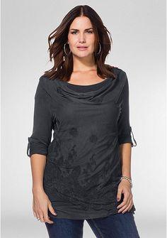 sheego Style Spitzenshirt in Lagenlook – stahlgrau