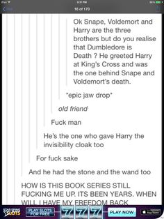I'd seen the posts about Harry, Snape, and Voldy representing the 3 brothers but I've never considered Dumbledore being death! Ahhhhh! I'll never stop looking for more HP secrets!