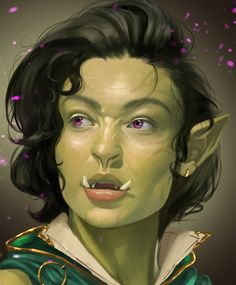 """caiosantosart:  """"Aru, half-orc mage comission portrait  """"  Some inspirational art for gaming. Make sure to check out the artist's page."""