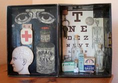 This is an assemblage I made with an old metal hinged box. The box when open is 15 X 11 and it is 4 deep. The background of inside the box is a: