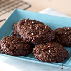 Learn how to make Healthy Double Chocolate Chip Cookies without using grain or nut flours. These soft and chewy cookies have an intense chocolate flavor.