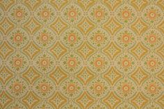 1970's Vintage Wallpaper Orange Yellow and Green Geometric on Etsy, $12.00