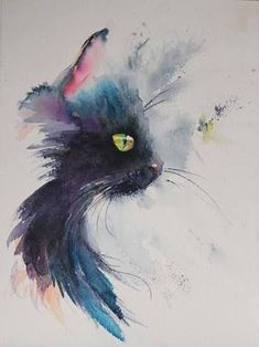 Image result for watercolor cat tattoo