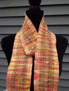 Lovely handwoven scarf in fall colors, made with hand dyed yarn, for men or women, from Creations by Maris https://www.etsy.com/listing/523239793/lovely-handwoven-scarf-in-muted-fall