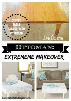 Extreme Makeover: Coffee Table turned Ottoman - www.refashionablylate.com