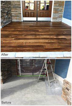 House Reno 2019 Rustic Concrete Wood - Porch Entryway - Before - After Painted Concrete Porch, Concrete Front Porch, Decorative Concrete, Wood Stamped Concrete, Colored Concrete Patio, Stenciled Concrete Floor, Diy Concrete Stain, Front Deck, Front Porches