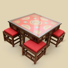 Teak Wood Square Coffee Table With Pouffs In Warli & Dhokra Work | #simple #Furniture #Tables #simple, #Furniture, #Tables,