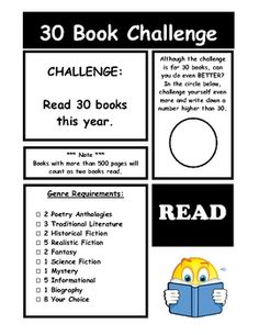 30 book yearly challenge with Literature genre posters.  Maybe could adapt this into the iPod/iReader theme for upper grades