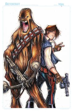 STAR WARS HAN AND CHEWIE  WIP 03 by RobDuenas.deviantart.com on @deviantART