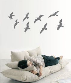 white Flying seagulls Bird Wall Tattoo Wall Decal by Anchovisdesign, (etsy)