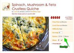 Korstloze quiche met spinazie, champignons & kaas - MiCook