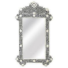 "Bone 28""x48"" Inlay Oversize Wall Mirror, Black"