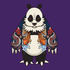 It's all good in tha' hood. #panda #yakuzapanda #tattoo #koi #dragon #graffiti…