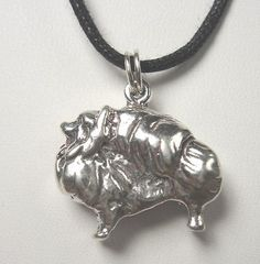 Pomeranian Dog Sterling Silver Pendant Adjustable Black Cotton Cord Pom USA Made | eBay