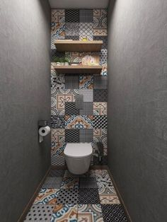 Wow! Would love this for a guest loo room Small Toilet Design, Toilet Tiles Design, Bathroom Design Small, Small Bathroom Interior, Small House Design, Bathroom Wall Decor, Bathroom Ideas, Bathroom Layout, Pottery Barn Bathroom