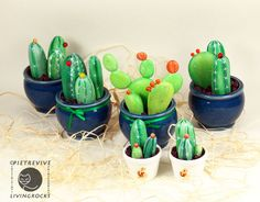 Sassi p-arte: Operation cactus Pebble Painting, Pebble Art, Stone Painting, Rock Painting, Painted Rock Cactus, Painted Pots, Painted Pebbles, Painted Stones, Cacti And Succulents